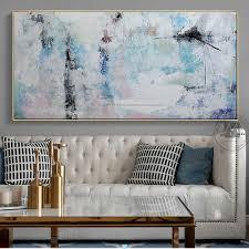 abstrakte malerei leinwand moderne acryl gemälde blau handgemachte horizontale große leinwand wand kunst wand bilder für wohnzimmer