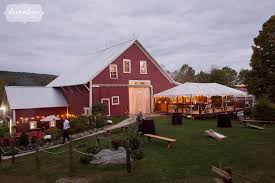 The Red Barn At Dusk Bishop Farm Wedding Venue In NH