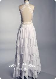 Sexy Open Back Details Of Custom Ruffled Chiffon Skirt Bridal Gown