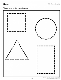 Brilliant Preschool Shape Tracing Page With Coloring Pages And For Adults