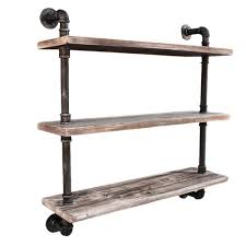 Life Industrial 3 Level Floating Pipe Wall Shelf
