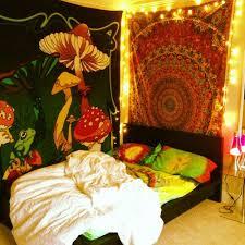 Hippie Bedroom Tie Due Tapestries Shroomy Christmas Lights