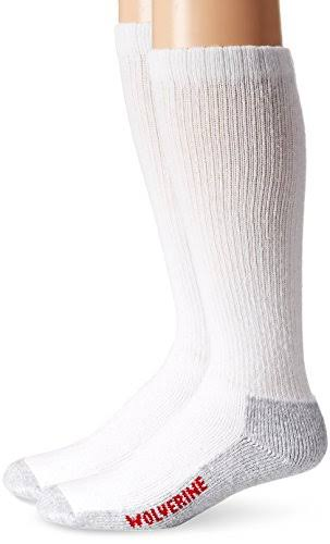 Wolverine Men's Steel Toe Over The Calf Socks - White, Large