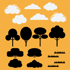 100 Flat Cloud Vector Set Of Silhouettes Flat Trees Bushesgrass And Clouds