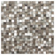 118x118 3D Silver And Pewter Aluminum Square Mosaic Tile Single