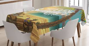 Hello Tablecloth, Seashore With Palm Tree And Chair Illustration With Hello  Summer Calligraphy Print, Rectangular Table Cover For Dining Room Kitchen,  ...