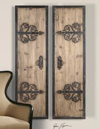 2 XL Decorative Rustic Wood Wrought Iron Wall Art Panels Oversized 70