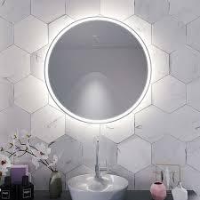 spiegel rund mit umlaufender beleuchtung glam