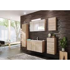 elegantes badezimmer eiche hell seidenglanz mit waschplatz und keramik waschbecken