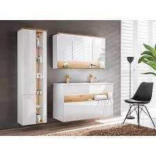 badezimmer set mit doppel waschtisch inkl led bermuda 56 in weiß hochglanz mit wotaneiche b h t 185 200 45cm