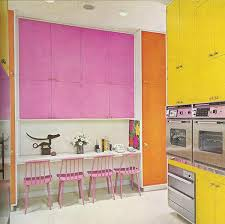 Andy Warhol Inspired Kitchen Vintage Retro Midcentury Modern Color Blocked Cabinets