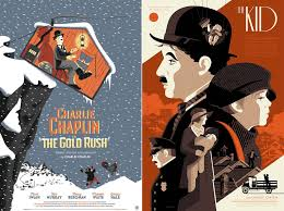 Poster Of Famous Movies From The Silent Movie Icon With Humoristic And Graphic Illustrations Gold Rush To Kid Including Great Dictator