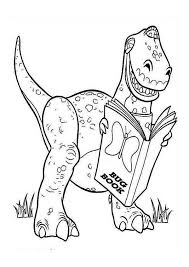 Print Rex Is Reading A Book In Toy Story Coloring Page Full Size