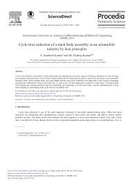 PDF) Cycle Time Reduction Of A Truck Body Assembly In An Automobile ...