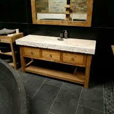 set naturstein doppelwaschtisch waschbecken mit teak