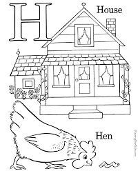 H Is For House And Hen Free Printable Coloring Page