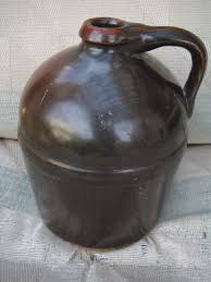 Van Briggle Lamp Value by Antique Peoria Pottery Crock Whiskey Jug Dark Brown Glaze Whisky