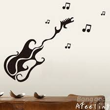 Guitar Wall Art Removable Sticker For Room Decoration
