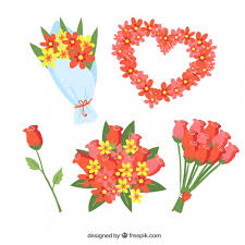 Hand Drawn Valentines Day Floral Wreaths Bouquets