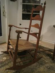 Tall Ladder Back Chairs With Rush Seats by Antique 1800s New England Shaker Ladder Back Elders Rocking Chair
