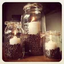 Mason Jars Coffee Beans Vanilla Candles And Twine