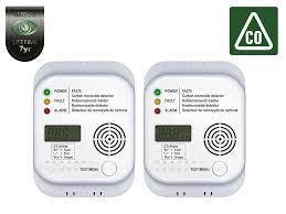 2er set kohlenmonoxid melder mit display und temperaturanzeige co melder