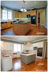 Cabinet Refinishing Kit Before And After by Kitchen Glamorous Painted Brown Kitchen Cabinets Before And