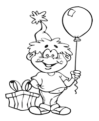 The Boy With Balloon Coloring Page