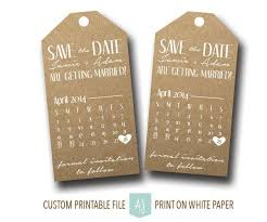 Printable Save The Date Tags Rustic Style With Calendar For DIY Bride Digital File