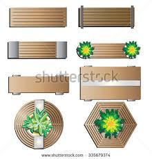 Outdoor Furniture Bench Top View For Landscape Design Set 5 Vector Illustration