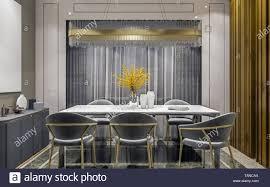 modernes interieur grau gold esszimmer mit seitliche konsole