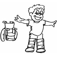 Boy Standing Over Wheelchair Coloring Sheet