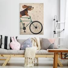leinwandbild radtour basset auf fahrrad hochformat 4 3