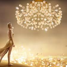 zx europa typ kristall deckenleuchte rund esszimmer wohnzimmer g4 led beleuchtung gold silber blume kreative amerikanischen le