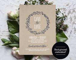Save The Date Template Navy Blue Rustic Wreath Wedding Printable PDF Instant Download