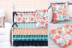 Teal And Coral Baby Bedding by Teal And Navy Crib Bedding Decoration Navy Crib Bedding In Blue