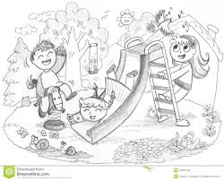 Kids Playing In The Playground Clipart Black And White