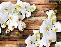 fototapete 3d orchidee holz 352 x 250 cm vlies tapeten wandtapete moderne wanddeko wohnzimmer schlafzimmer büro flur weiss 9057011a