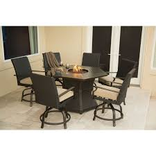7 Piece Patio Dining Set by Belham Living Tulie 7 Piece Aluminum Fire Pit Patio Dining Set