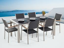 Garden Table And Chairs - Dining Set - 6 Seater - Triple Plate - Black  Granite - Rattan Chairs - GROSSETO 3pc Black Rocker Wicker Chair Set With Steel Blue Cushion Buy Stackable 2 Seater Rattan Outdoor Patio Blackgrey Bargainpluscomau Best Choice Products 4pc Garden Fniture Sofa 4piece Chairs Table Garden Fniture Set Lissabon 61 With Protective Cover Blackbrown Temani Amazonia Atlantic 2piece Bradley Synthetic Armchair Light Grey Cushions Msoon In Trendy For Ding Fabric Tasures Folding Chairrattan Chairhigh Back Product Intertional Caravan Barcelona Square Of Six