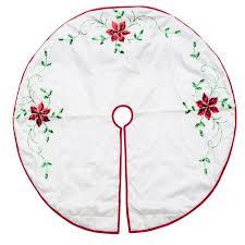 48 White Poinsettia Embroidered Christmas Tree Skirt