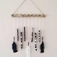 Driftwood Mobile Hanging BlackWhite Decor Boho African Hand Painted