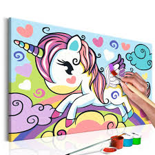 Cuadro Para Colorear Unicornio De Colores Deko Shop