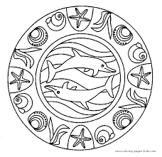 Dolphin Mandala Color Page Dolphins Animal Coloring Pages Plate Sheet