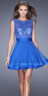 neck lace bodice open back short prom dress by la femme