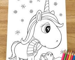 Christmas Unicorn Coloring Page Downloadable PDF File