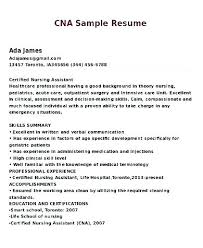 Cna Resume No Experience Sample For Summary Of Samples Printable Example