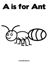 A Is For Ant Coloring Page From TwistyNoodle