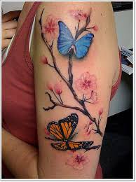 Nice Butterflies And Cherry Blossom Tattoos On Left Half Sleeve