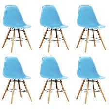 vidaxl esszimmerstühle 6 stk blau kunststoff gitoparts